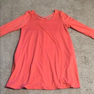 CORAL Tunic Top w/criss cross back & pockets!